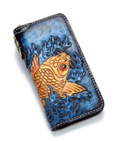 Handmade Leather Biker Trucker Wallet Leather  Men Red Carp Tooled Wallet  NW120 - Unihandmade