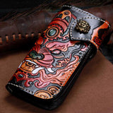 Handmade Leather Chinese Monster Biker Wallet Clutch Long Wallet NW124 - Unihandmade