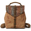 Handmade Canvas Leather Backpack Women School Backpack Travel Bag FX3003 - Unihandmade