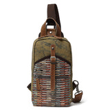 Handmade Canvas Leather Shoulder Bag Women Chest Bag FX1007 - Unihandmade