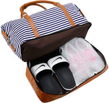 Women Canvas Weekender Bag Overnight Carryon Duffel Tote with Shoe Compartment Duffle
