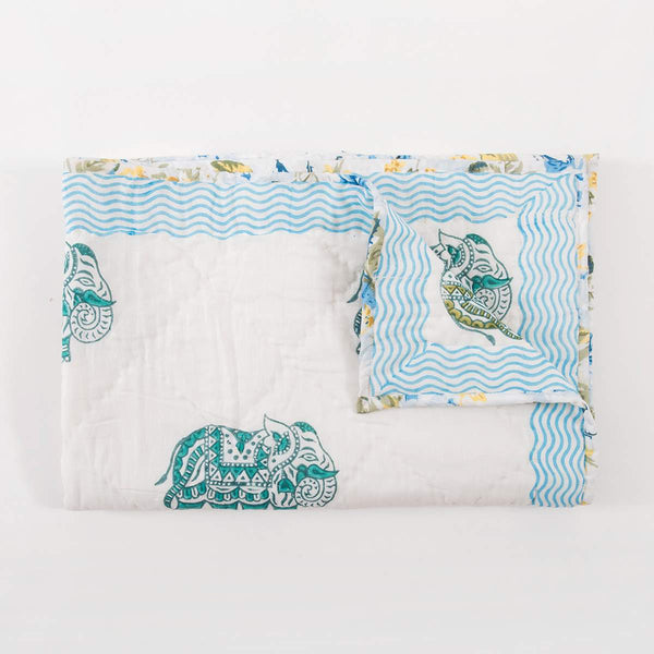 Green Elephant Baby Quilt
