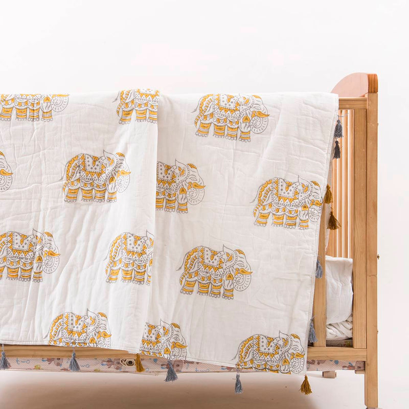 Yellow Elephant Baby Quilt