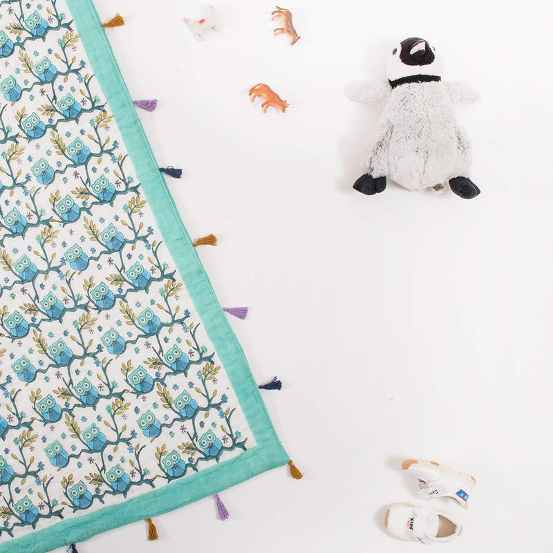 Owl Printed Baby Quilt