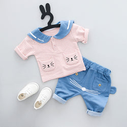 Cute Cat Striped Set