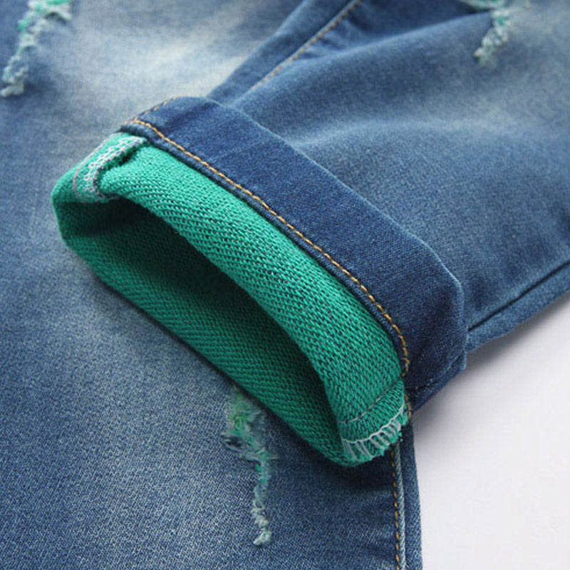 Denim With Green Rib