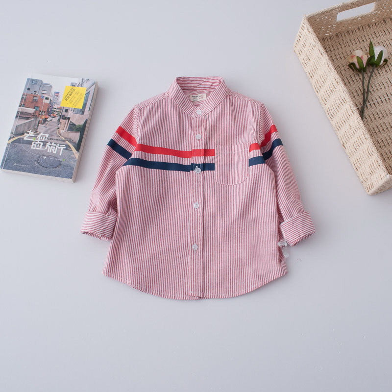 Mandarin Striped Shirt