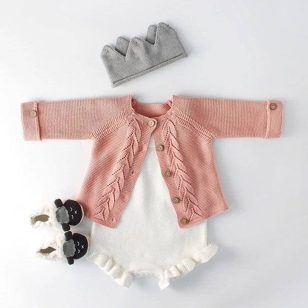 Knitted Romper and Cardigan Set