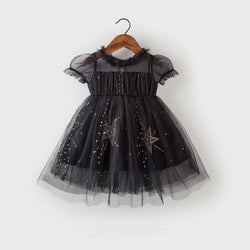 Star embroidered black party dress