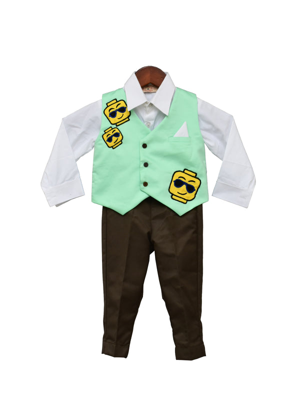 Acqua Green Waist Coat with Brown Pant and White Shirt