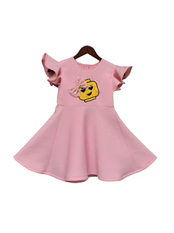 Baby Pink Neoprene Dress with Lego Motif