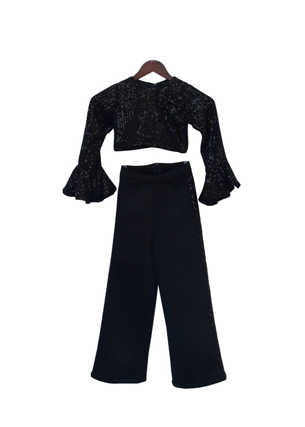 Black Sequence Top with Neoprene Pant
