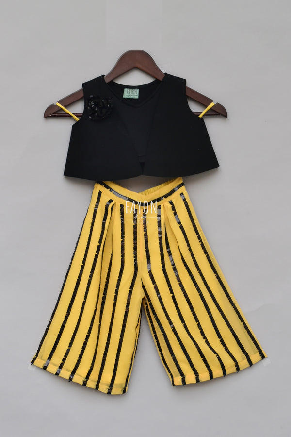 Black Lycra Top with Yellow Plazo
