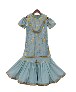 Blue Embroidery Kurti with Sharara