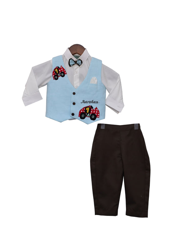 Blue car waist coat with White Shirt and Brown Pants