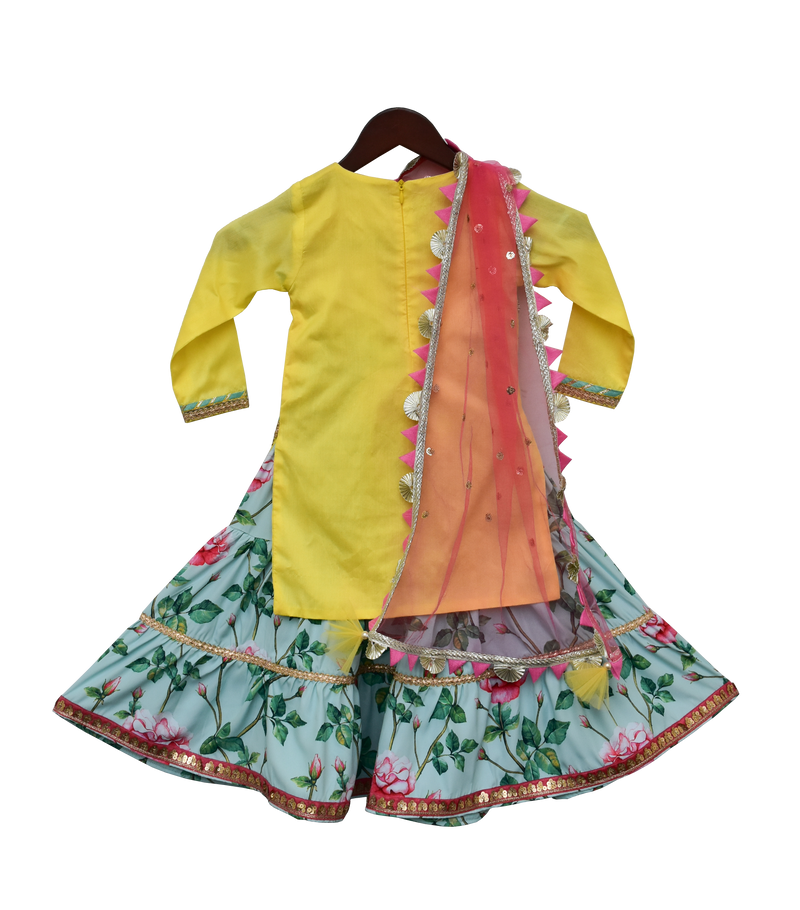 Bright Yellow Kurti with Printed Sharara
