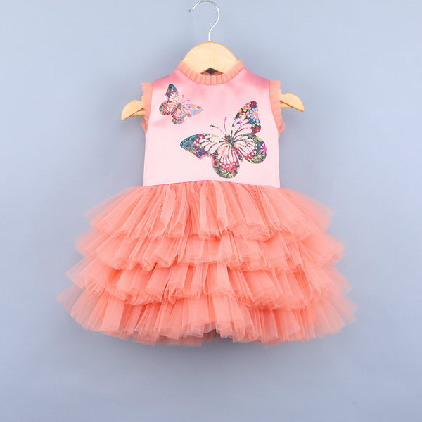 Flying Butterfly Peach Dress