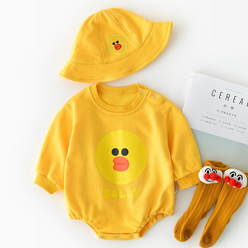 Cartoon Made Romper With Hat