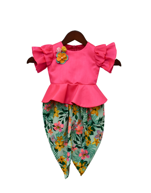 Hot Pink Peplum Top with Printed Dhoti