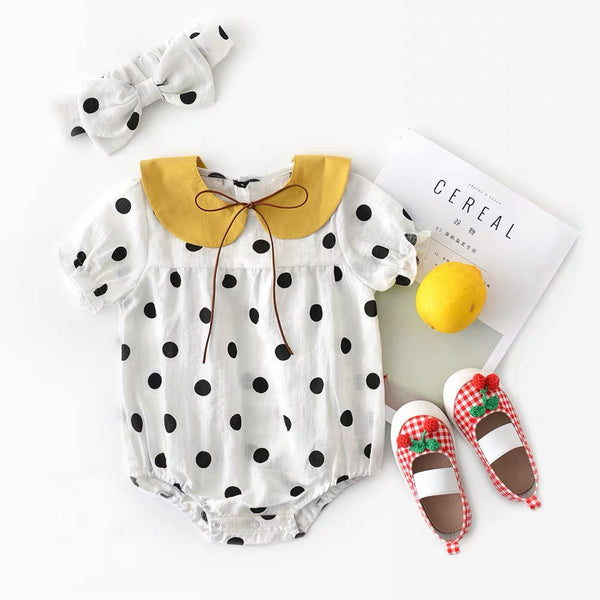 Polka Dotted Romper With Headband