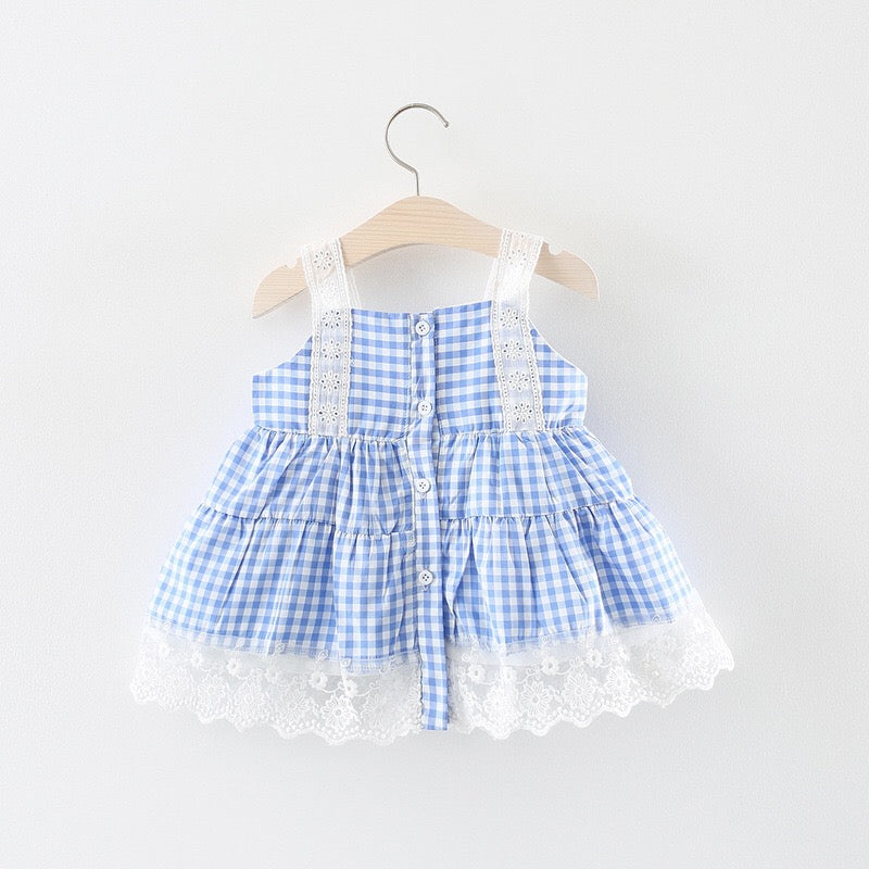 Checks Lace Dress for Baby Girls