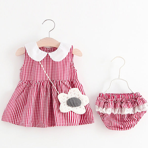 Doll Collar Plaided Bloomers Set