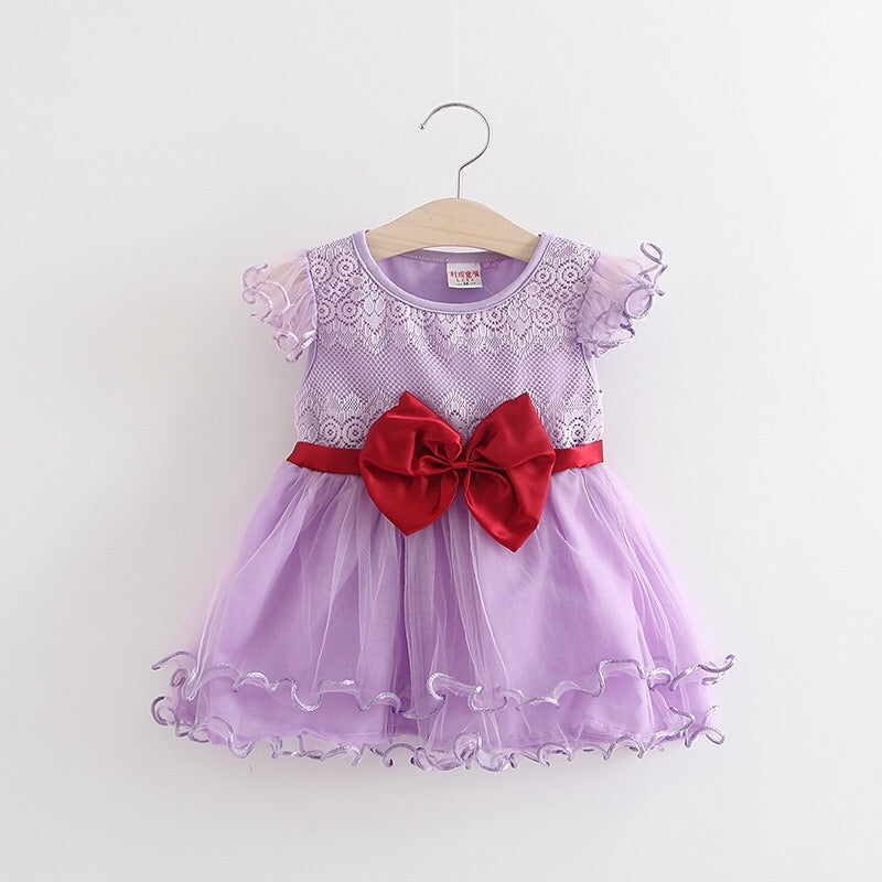 Bow Summer Party Dress For Baby Girls