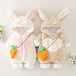 Heart Made Rabbit Hooded Winter Jumpsuits