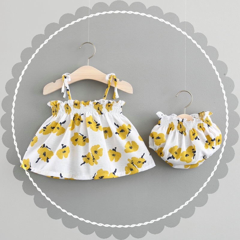 Flower Printed Bloomer Set