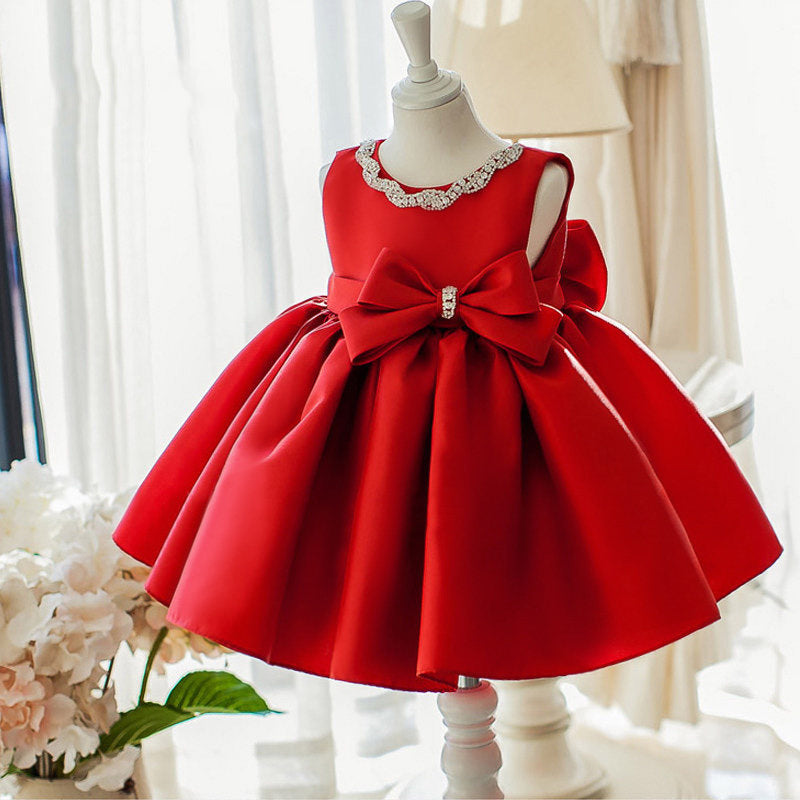 Red Bow Made Pleated Party Dress