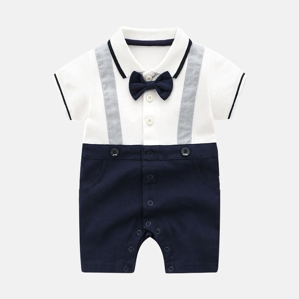 Bow Gentleman Polo Collar Romper