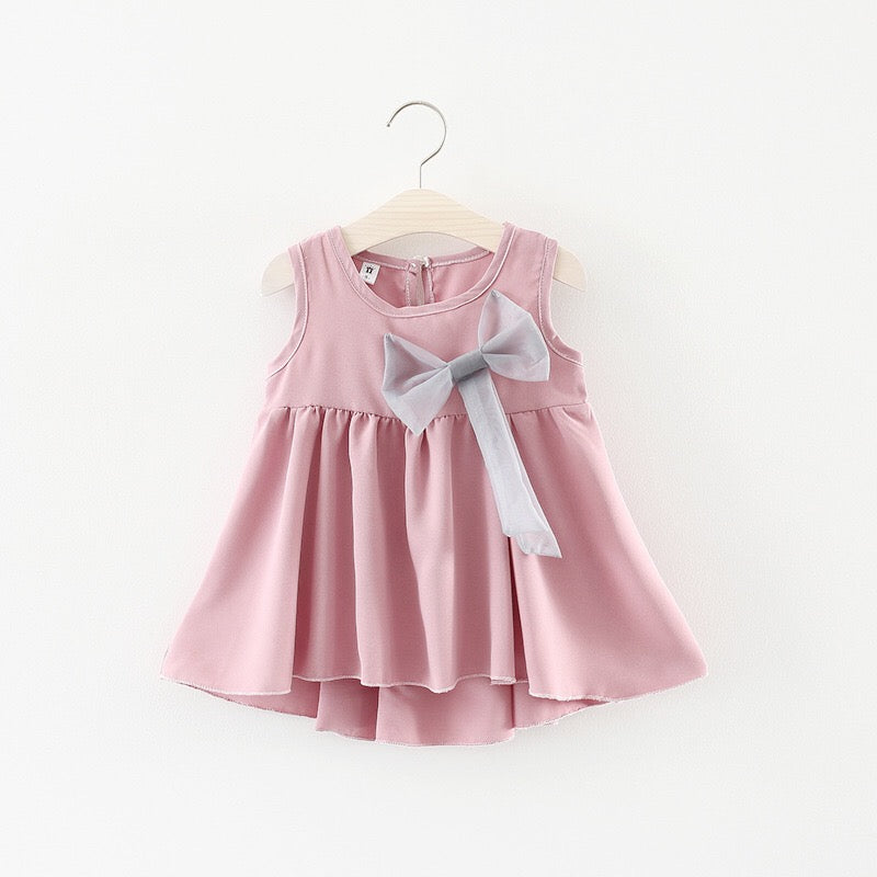 Solid Color Bow Dress