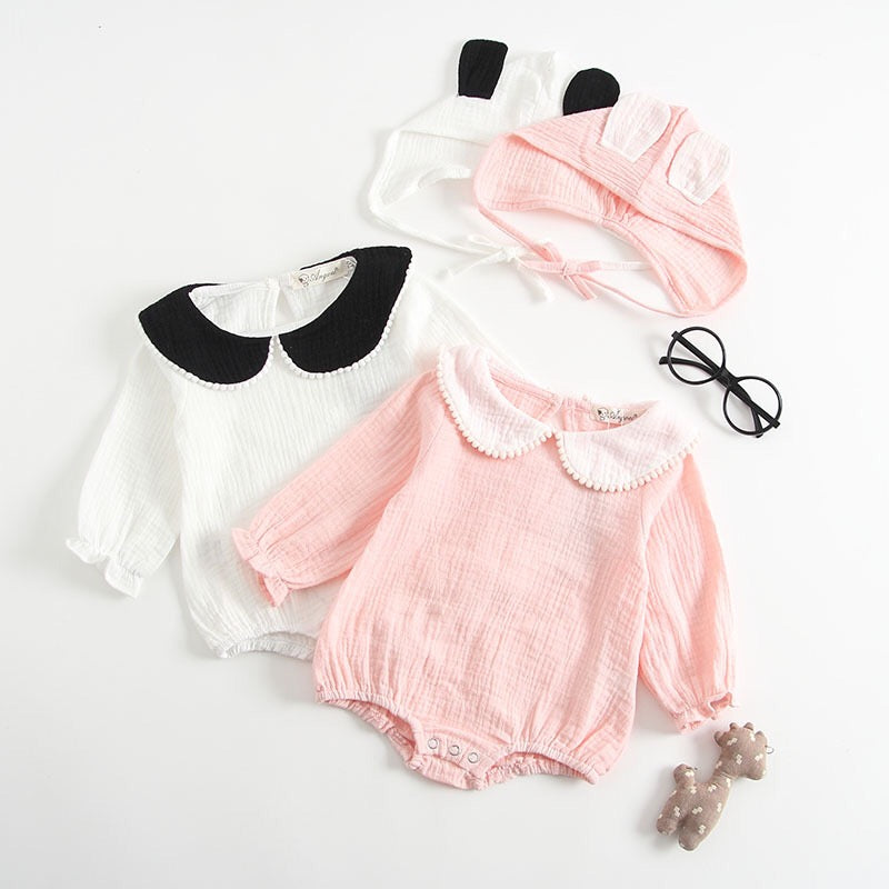 Doll Collar Romper With Rabbit Ear Cap