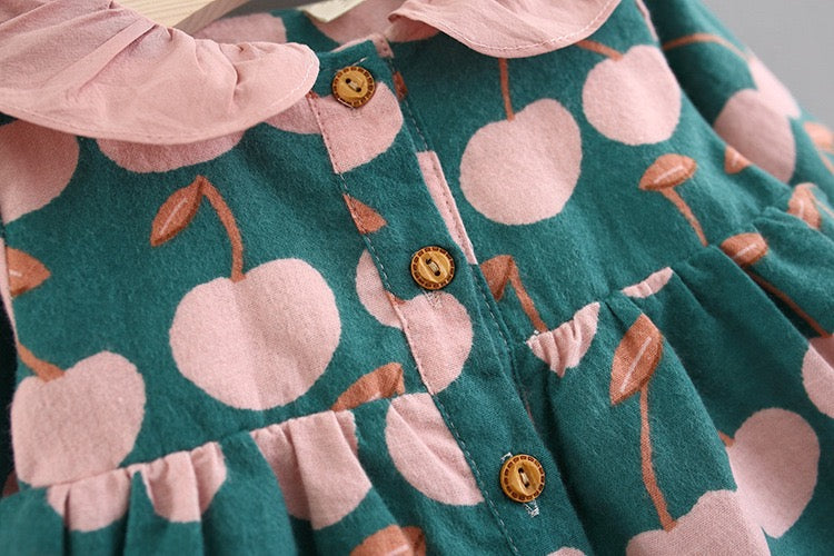 Apple Printed Doll Collar Buttoned Dress