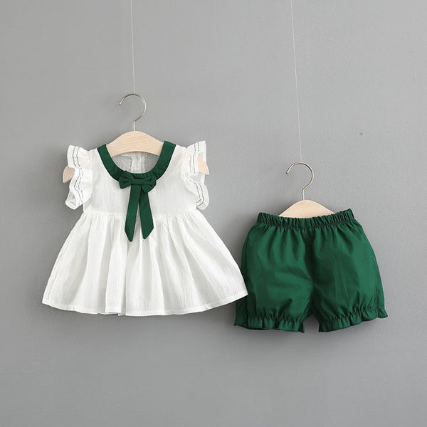 Bow Knot Ruffles Sleeves Top And Shorts Set