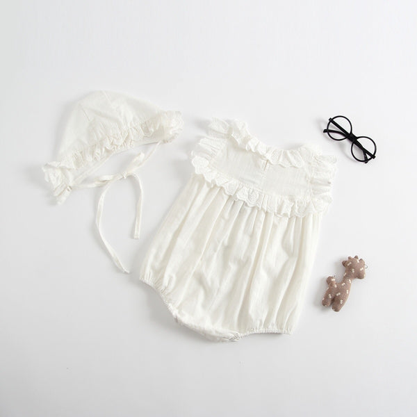 Frill Romper With Cap