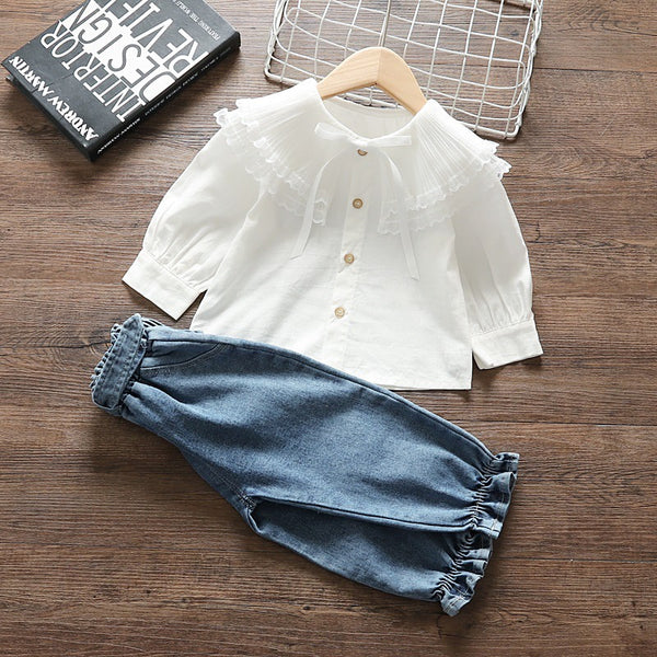 White Top And Balloon Denim Set