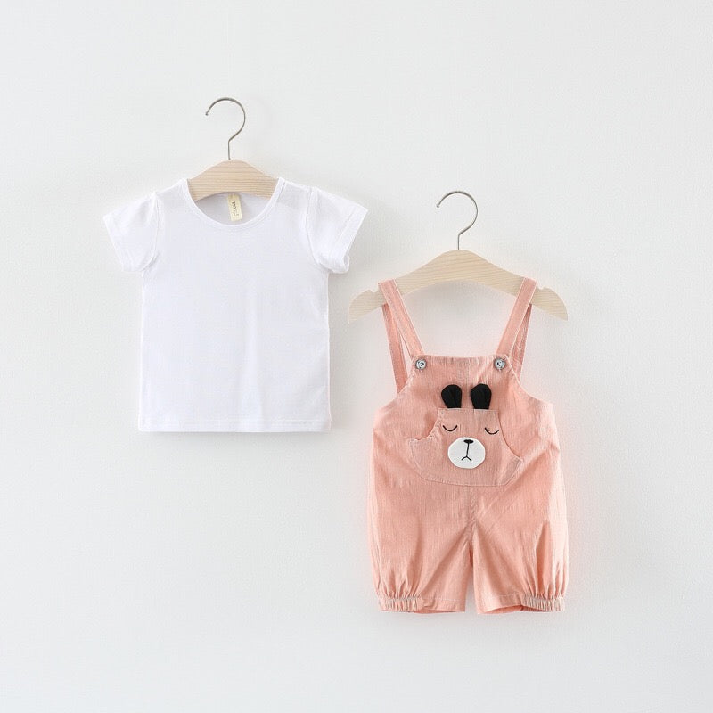 Bear Overall Set With Tee For Baby Girls