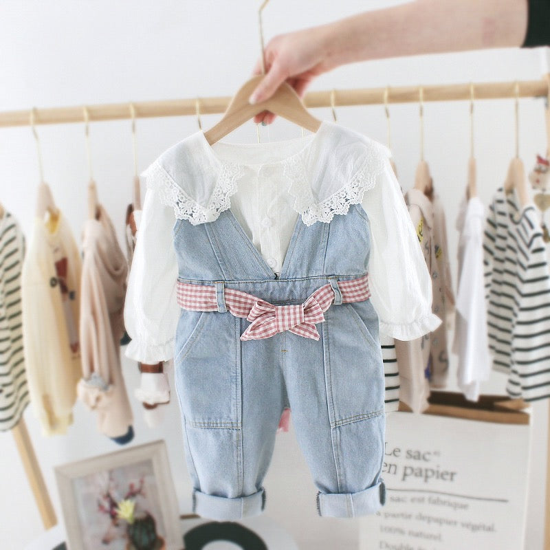 Lace Collar Top And Dungaree Set