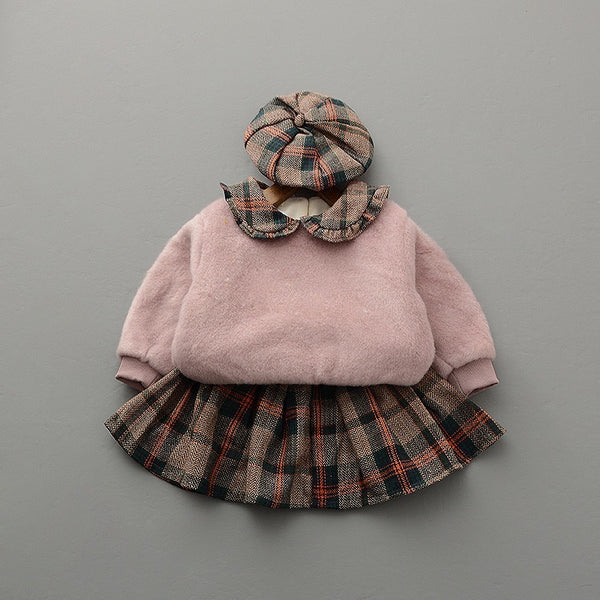 Checkered Skirt Winter Set With Hat