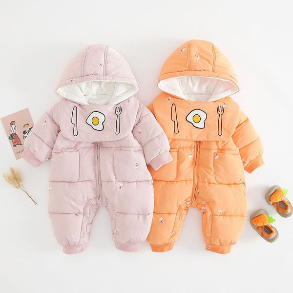 Duck embroidered padded winter jumpsuit