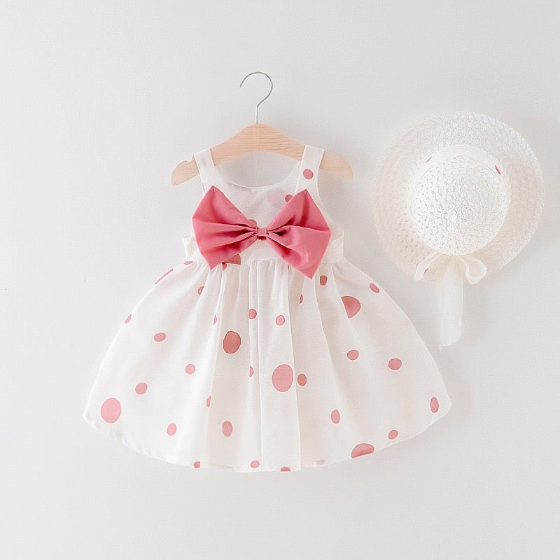 Bow Pleated Sleeveless Summer Dress With Hat