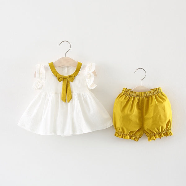 Bow Collar Ruffles Sleeves Summer Set