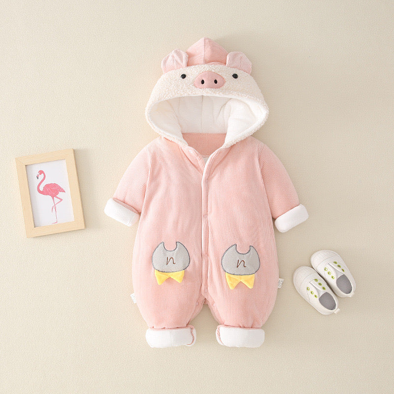 Pig Hooded Winter Jumpsuit