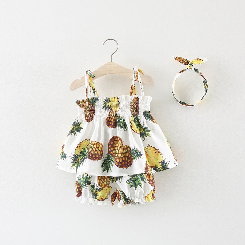 Pineapple Printed Summer Set For Baby Girls