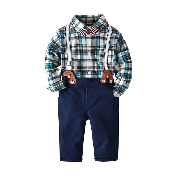 Bow Checks Romper Shirt With Suspender Pants