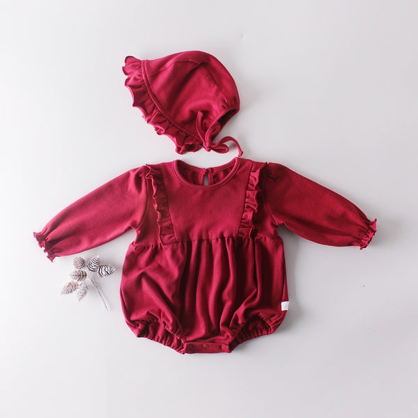 Red Ruffle Romper With Cap