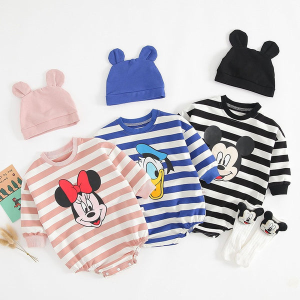 Cartoon Made Striped Rompers With Cap