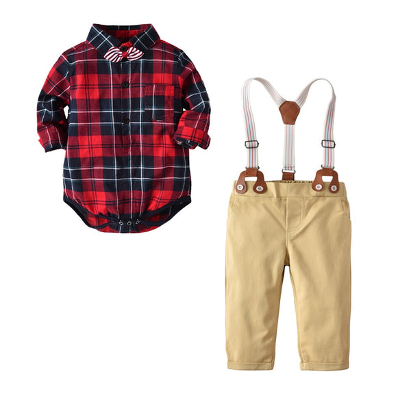Red Checks Bow Romper Shirt With Suspenders Pant