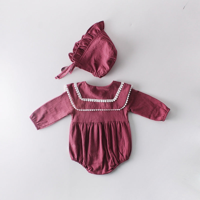 Buttoned Pleated Romper With Hat